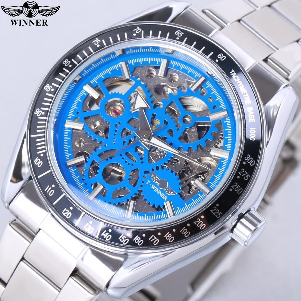 Winner moda azul militar diseño azul vidrio impermeable hombres automático esqueleto mecánico relojes de marca superior de lujo reloj Masculino
