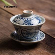 Jingdezhen tasse à café bol pour thé varié porcelaine   1 pièce, petite Gaiwan bleue et blanche ancienne glaçure chinoise, porcelaine
