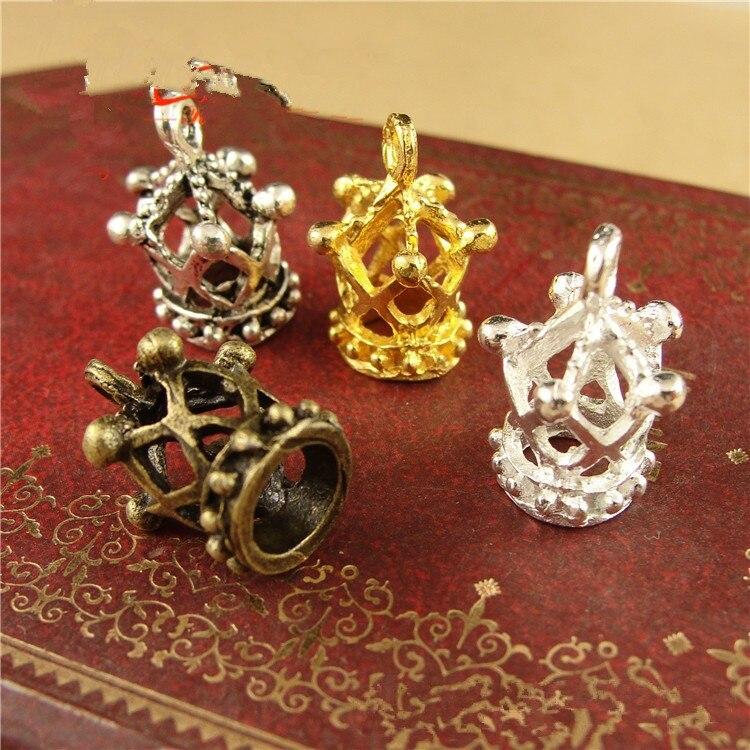 20 piezas 13x18mm Vintage Metal corona colgante hueco jaula de pájaros para DIY joyería hallazgos collar pulsera Accesorios