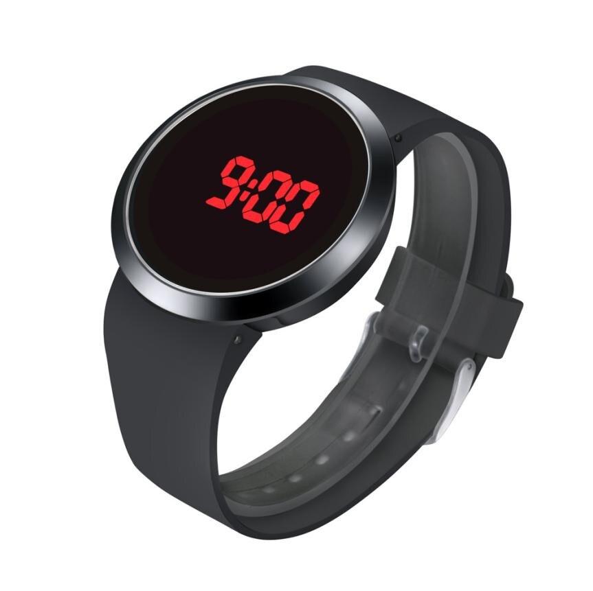 Moda à prova dwaterproof água led touch screen data dia silicone relógio de pulso perfeito presente circular superfície padrão relogio masculin