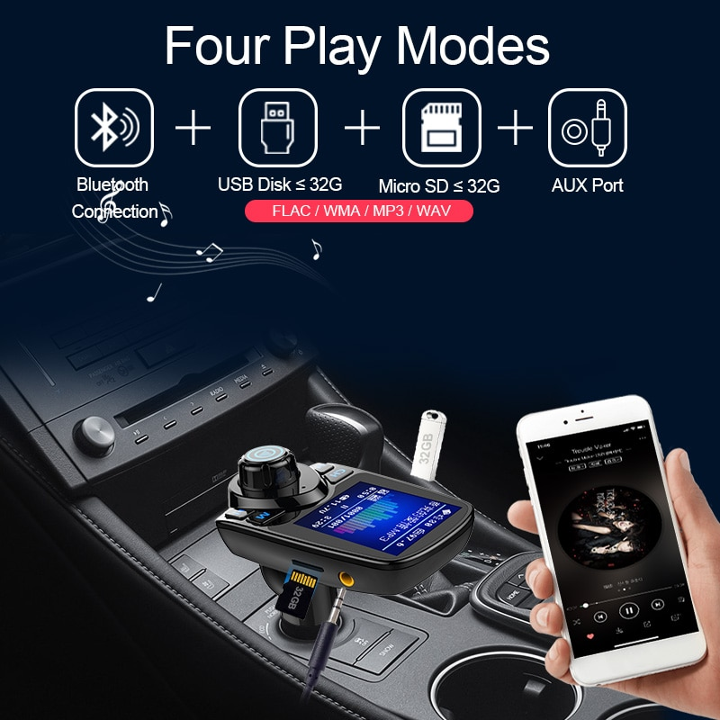 Купить с кэшбэком CDEN car multimedia player color screen car mp3 player fm transmitter U disk / TF music Bluetooth Car Kit car charger