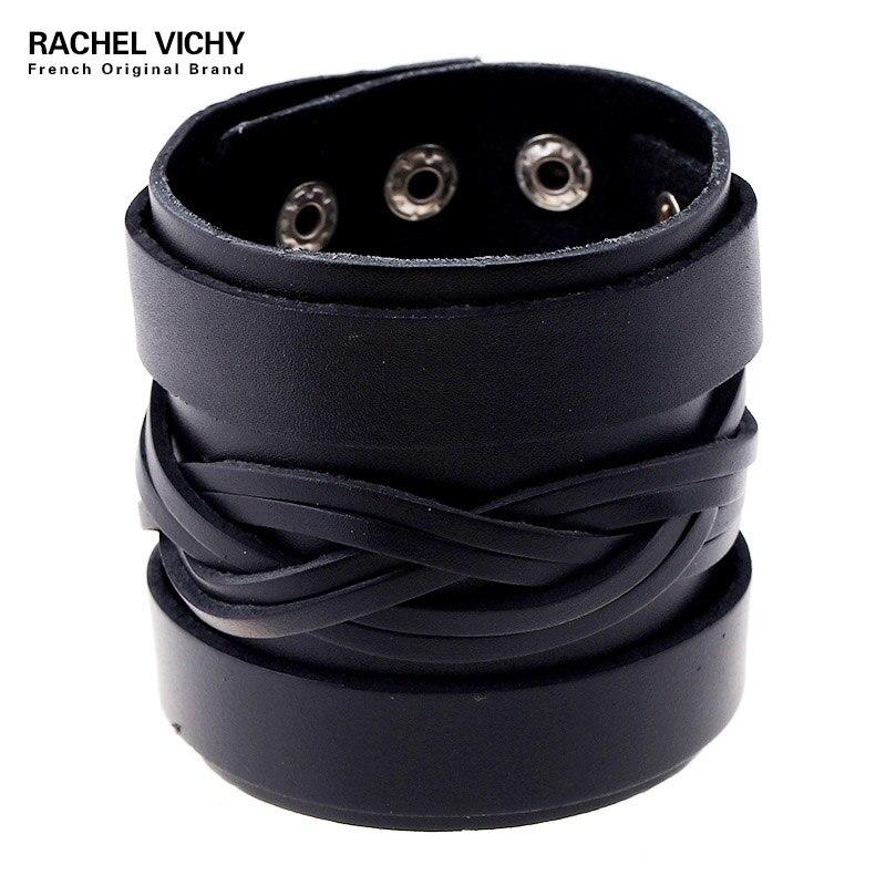 Мужской винтажный браслет P01850, широкий кожаный браслет-манжеты в стиле панк-рок, из воловьей кожи