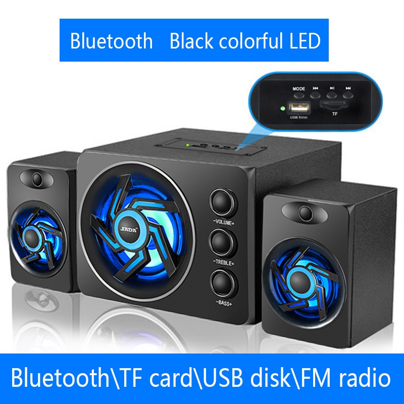 SADA D-219 Bluetooth\TF\USB\FM Function 2.1 Computer Speaker System With Colorful LED Light and Powe