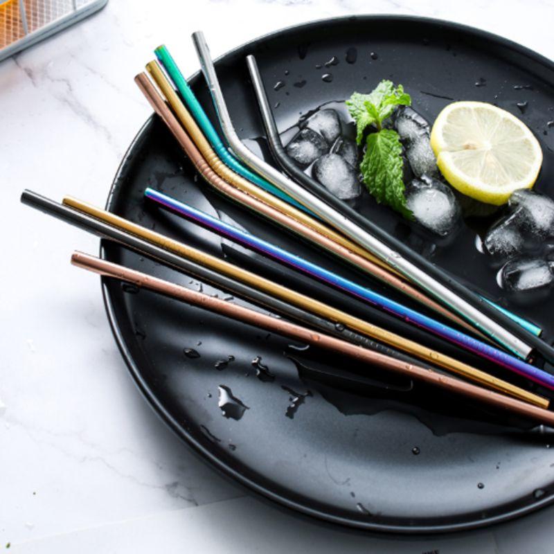 Juego de pajita reutilizable de acero inoxidable con cepillo limpiador pajita de metal doblada recta para accesorios de Bar de fiesta en casa agua