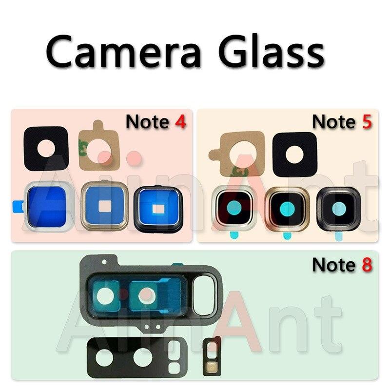 Aiinant original voltar câmera traseira lente de vidro anel capa para samsung galaxy note 4 5 8 com adesivo cola substituição peças telefone