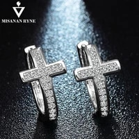 misananryne special geometrical silver color cross earrings brinco high grade cz zircon hoop earrings for women boucle doreille