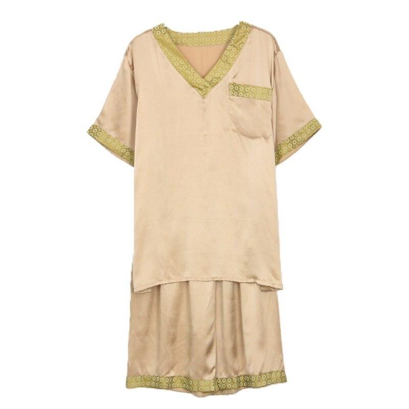 Натуральный шелк пижамы мужские летние с короткими рукавами шорты из двух частей пижамы комплекты сексуальные с v-образным вырезом шелкопряд шелк мужские% 27 пижамы 2612