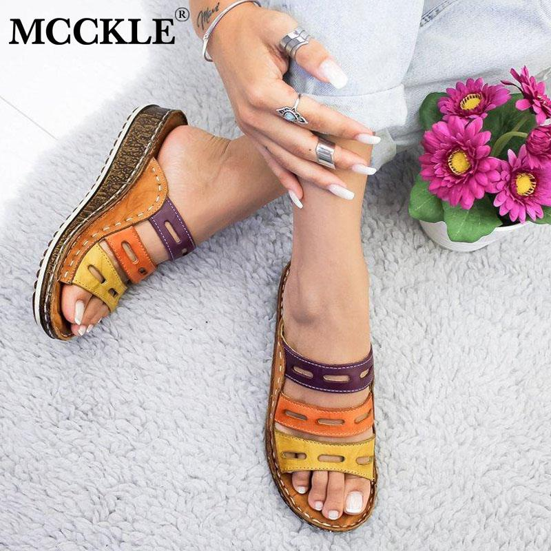 MCCKLE Women Slippers Ladies Hollow Out Mixed Colors Flip Flops Fashion Sewing Wedge Sandals Cork Shoes Platform Female Slides