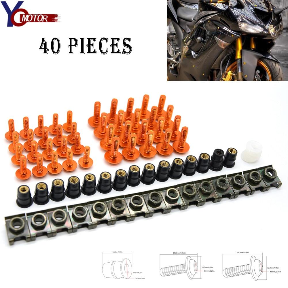 KTM デューク RC 125 200 390 エンデューロ Supermoto SMC 冒険 690 40 個オートバイフロントガラスフェアリングボルトウインドスクリーンボルト CNC