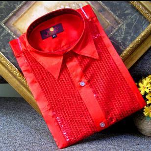 Crazy promotion ! Red sequins shirt men singer dance camisa masculina social star style dress mens new arrival designer