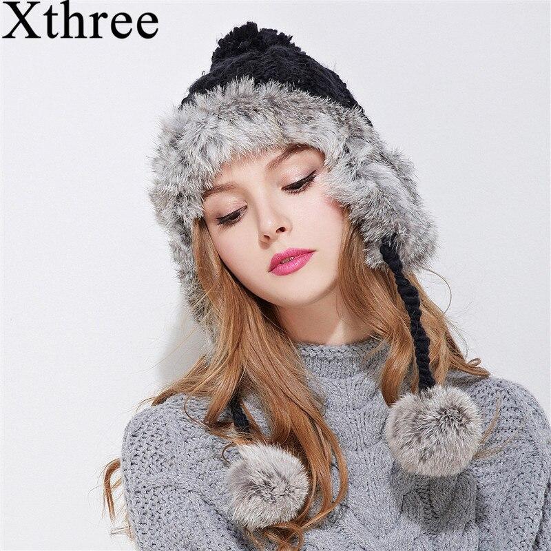 Xthree ear flaps sombrero de bombardero de invierno para las mujeres de piel de conejo que hace punto la muchacha caliente gorra de color liso acogedor capó