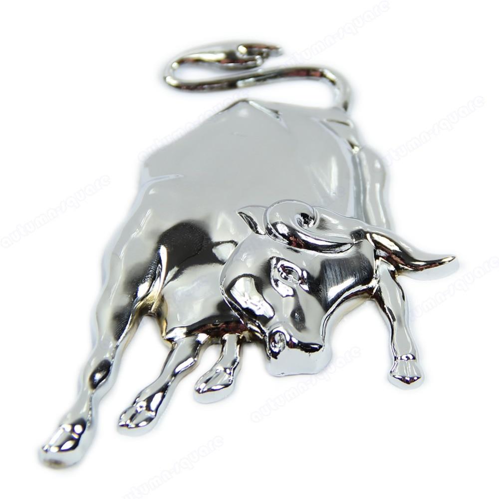 Новая 3D Серебристая хромированная металлическая эмблема Bull Ox, автомобильная наклейка на двигатель грузовика, автомобильная наклейка