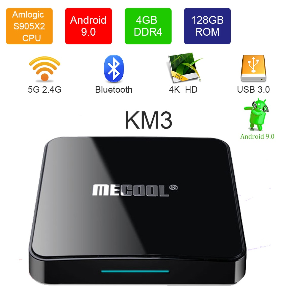 Mecool km3 google habilitado amlogic s905x2 4 gb ddr4 ram 128 gb rom 5g wifi bluetooth 4.0 android 9.0 4 k caixa de tv para youtube