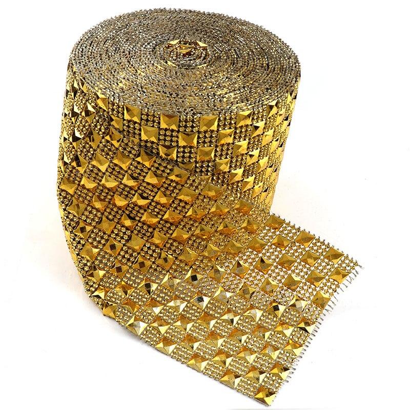 برشام شبكي ذهبي ، 10 ياردة ، 12 صفًا ، 10 مللي متر ، مربع ، نمط الشرير ، بلاستيك ABS ، مخيط ، لديكور المجوهرات المصنوعة يدويًا