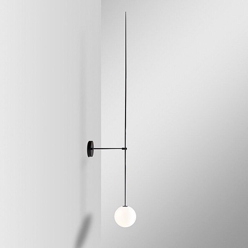 Lámpara de pared nórdica moderna LED minimalista pequeña bola de cristal cono pared Scone baño espejo cabecera iluminación diseño negro