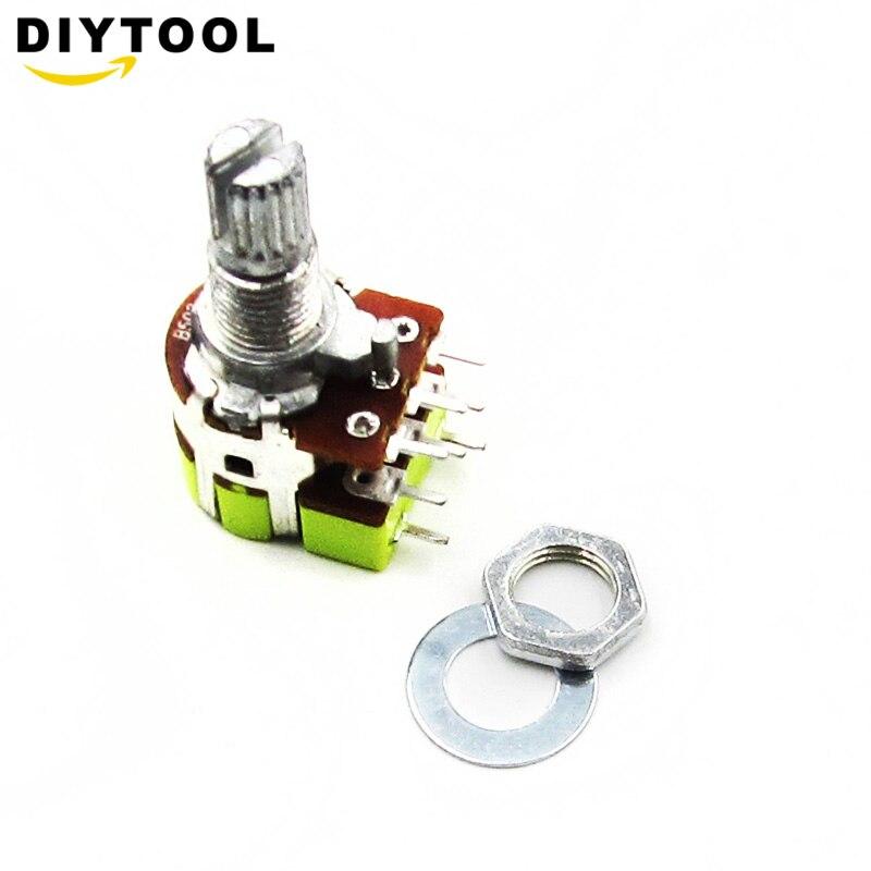 1 Uds B50K 50K Ohm interruptor de potenciómetro de Control de volumen de conicidad lineal Dual potenciómetro para estéreo de alta calidad