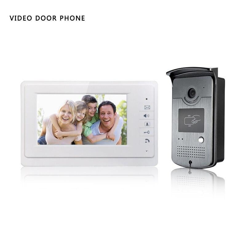Sonnette vidéo filaire 7 pouces   Écran hd, avec panneau RFID, pour villa, un moniteur avec une unité extérieure en métal