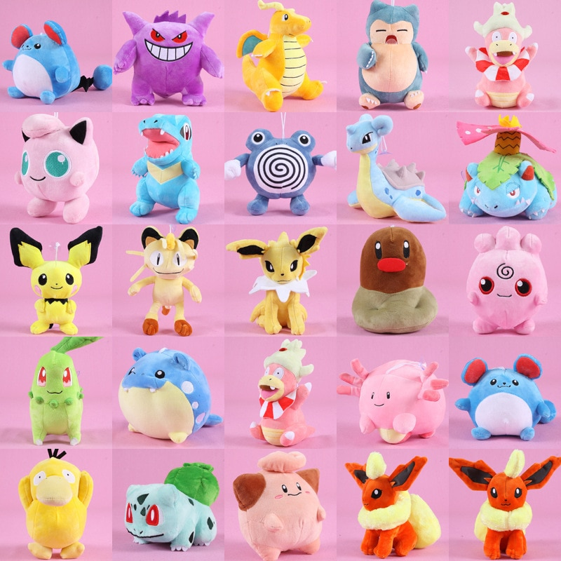 Estilos Anime Boneca Snorlax Pikachu Bulbasaur Charmander Poliwag Lapras Stuffed Peluche Plush Toy Presente de Natal Para Crianças