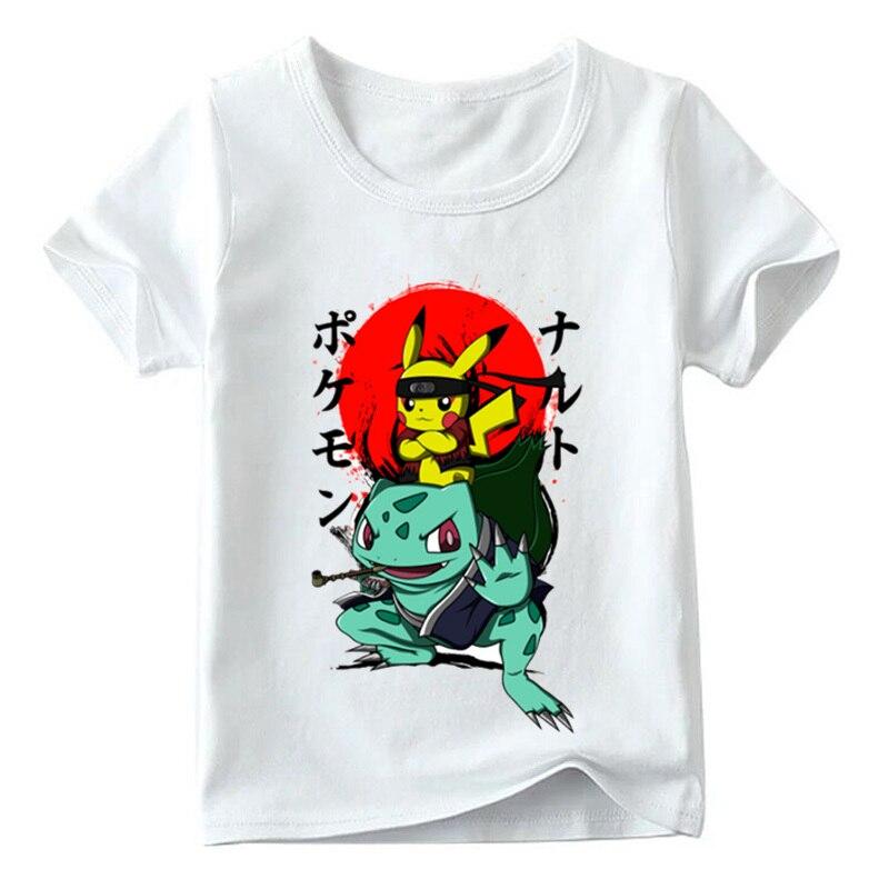 Niños Naruto Pikachu en Thor armadura Anime Pokemon Go camiseta bebé niños/niñas verano Top camisetas niños ropa Casual YUDIE