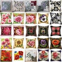 1 Kit de broderies fleurs de pavot   Fil acrylique, broderie oreiller, tapisserie toile, coussin avant, point de croix, taie doreiller-
