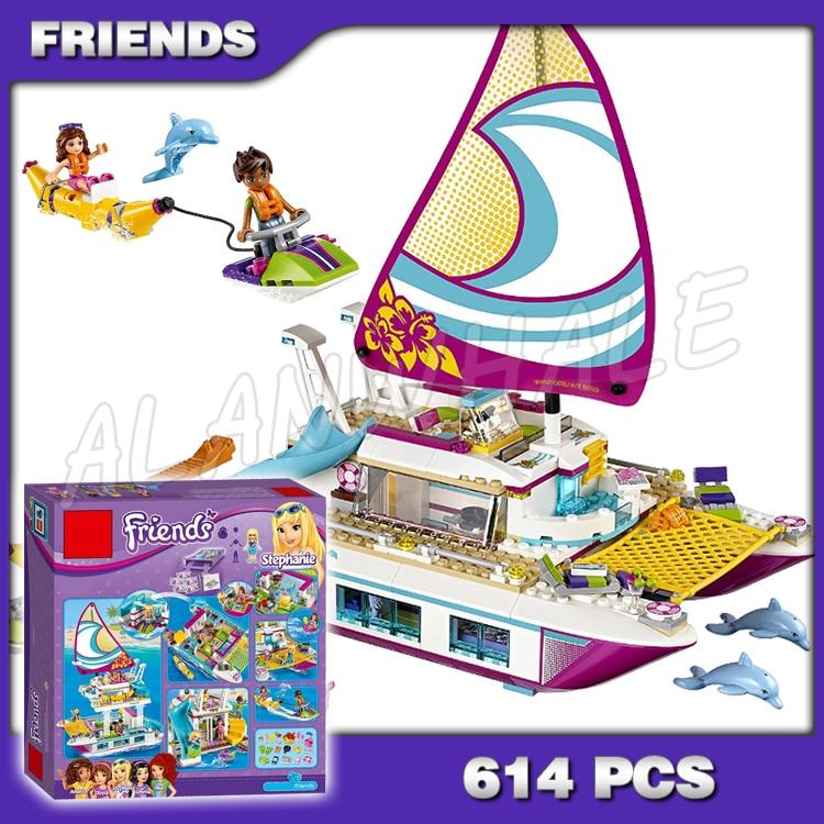 614pcs Friends Sunshine Catamaran Yacht Sea Ship Boat 10760 Model Building Blocks Little Girls Toys Bricks Compatible with Lago