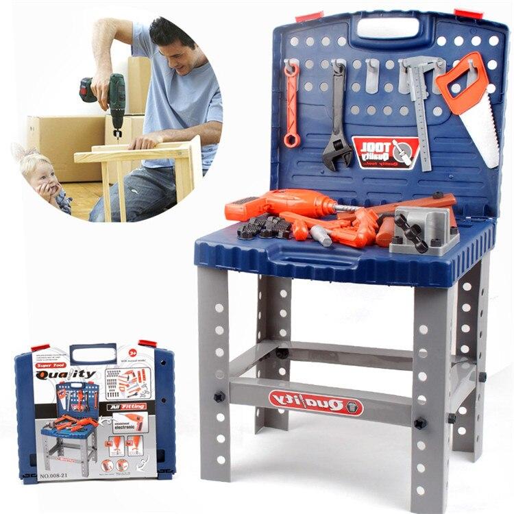 Envío Gratis, herramientas eléctricas de reparación para niños, caja de herramientas de simulación móvil DIY, juguetes para jugar a las casitas, kit de taller de poder