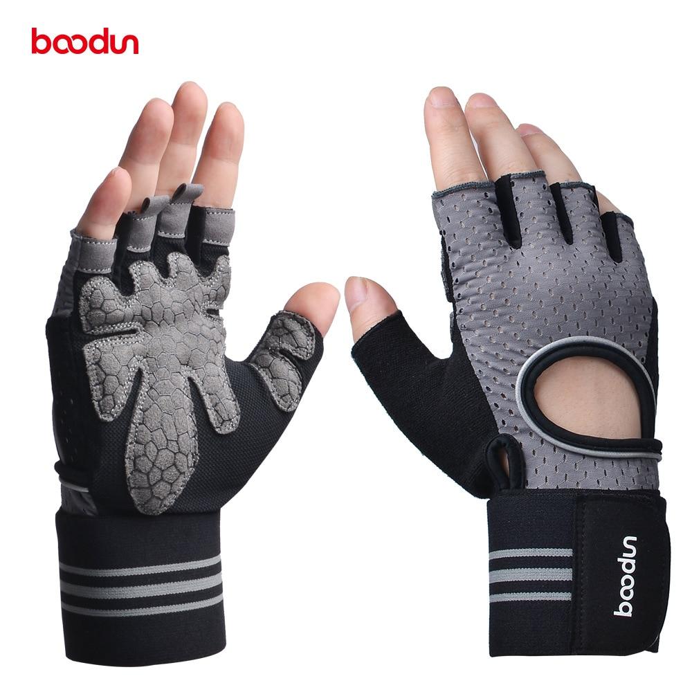 Мужские и женские спортивные перчатки BOODUN, гантель, тяжелая атлетика, Кроссфит перчатки для бодибилдинга, фитнеса