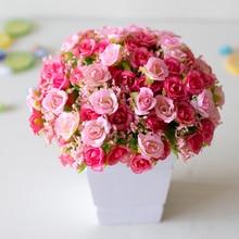 21 Head Artificial Plastic Rose Flower Bridal Bouquet Wedding Decoration Fake 7 Fork Mini Rose Silk Flower Romantic Home Decor