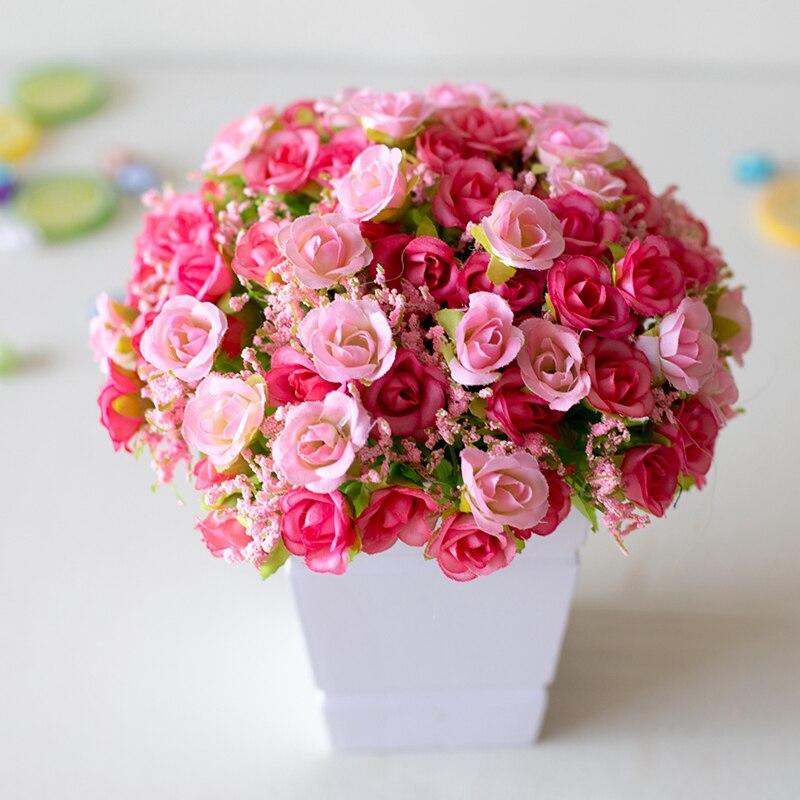 21 cabeza Artificial flor de Rosa de plástico nupcial ramo de boda decoración falso 7 tenedor Mini Rosa Flor de seda decoración para el hogar romántica