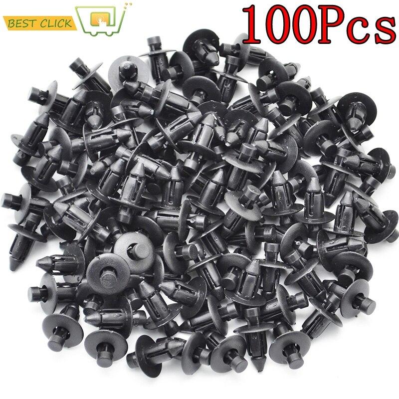 Sujetador para automóvil de 100 Uds., ajuste de 7mm de diámetro, negro, Clip de retenedor de realce para parachoques de puerta de automóvil Toyota, Clip de ajuste de cubierta de guardabarros