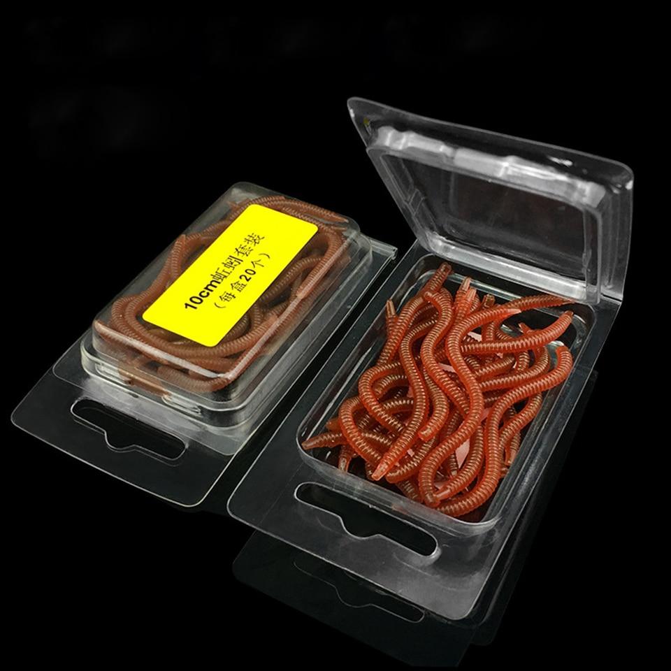 20 piezas de goma suave lombriz Artificial olor gusano señuelo de pesca de agua dulce de señuelo de pesca accesorios de pesca con cebo señuelo para trucha