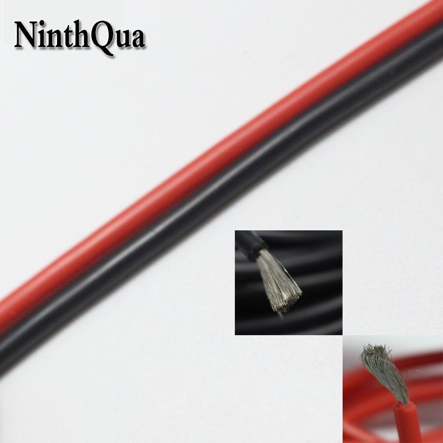 De 1 metro negro y 1 metro de rojo de silicona de alambre 20AWG 10AWG 12AWG 14AWG 16AWG 18AWG blando y resistente al calor de silicona de alambre de Gel de sílice de Cable