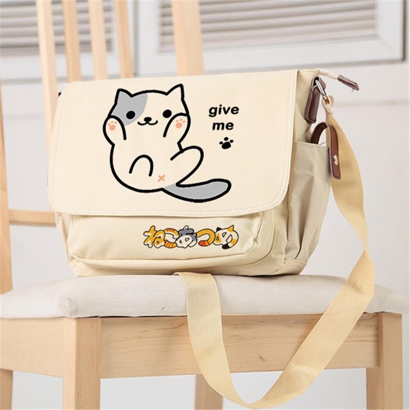 Neko Atsume Kawaii Cat Canvas School Bags Lolita Crossbody Bags for Women Cute Shoulder Bags Women Messenger Bags Neko Bookbag