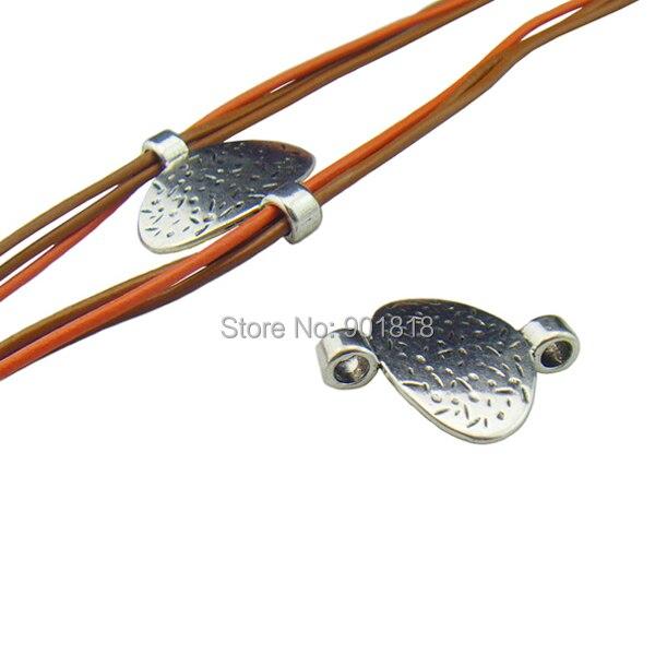 10 unids/lote plata antigua doble agujero sideway accesorio de cuentas Charm Bracelet F324