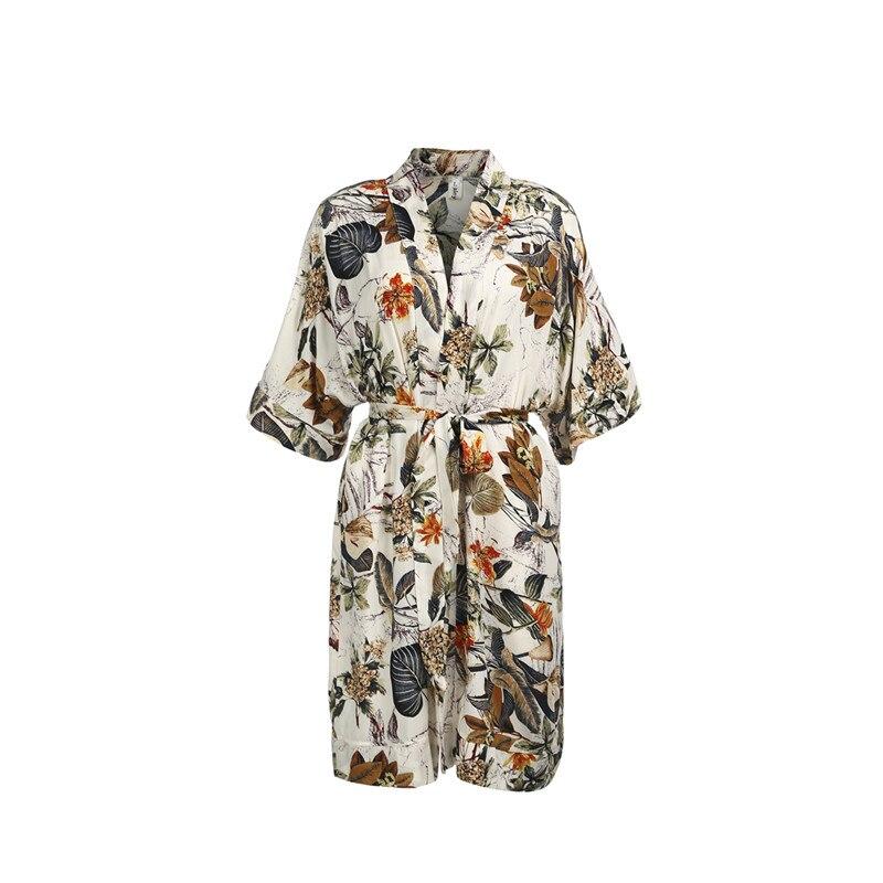 Vestido de Kimono Floral para mujer, moda 2018, cuello en V, manga corta, vestidos sexis con estampado de verano para mujer, traje de baño de playa, ropa