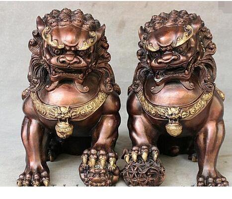 "Bronce, cobre puro antiguo Qing Ming latón 11 ""bronce rojo chino cobre Feng Shui mal real puerta Fu Foo perro estatua de par de León"