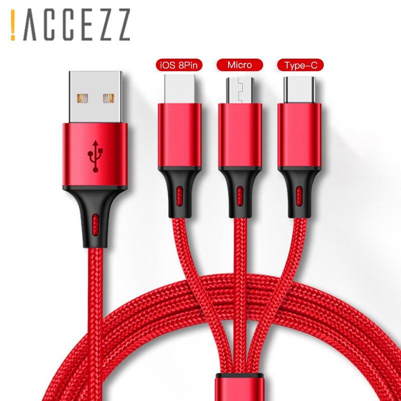 ¡! ACCEZZ 3 in1 Cable de carga Usb para IPhone X XS X MAX Micro USB tipo C cargador de Cable para Xiaomi Redmi Note 4 Samsung Cables de carga