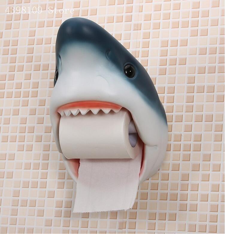 Caja de pañuelos de papel para baño con personalidad creativa, toallero de shark, artículos para el hogar, Portarrollos de papel, caja de pañuelos impermeable para el baño
