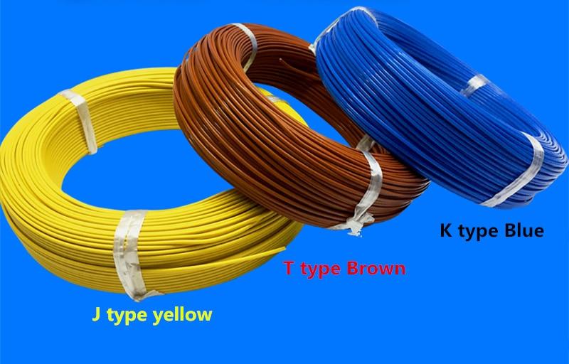 100m THERMO-COUPLE سلك K نوع T نوع J نوع 2*0.3 مللي متر 2*0.5 مللي متر الحرارية الحرارية خط تعويض الرصاص سلك الاستشعار