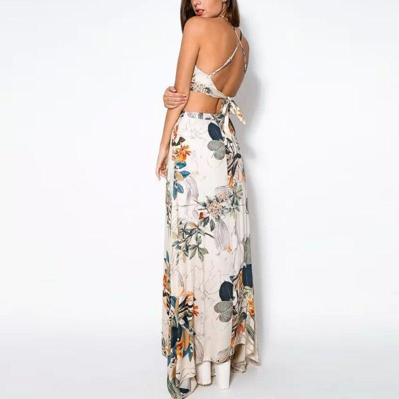 Summer 2 piece/Set Women Cross Backless Dress Long Maxi Bohemian Halterneck vestidos Floral Print Party Beach Dress+Tank Tops