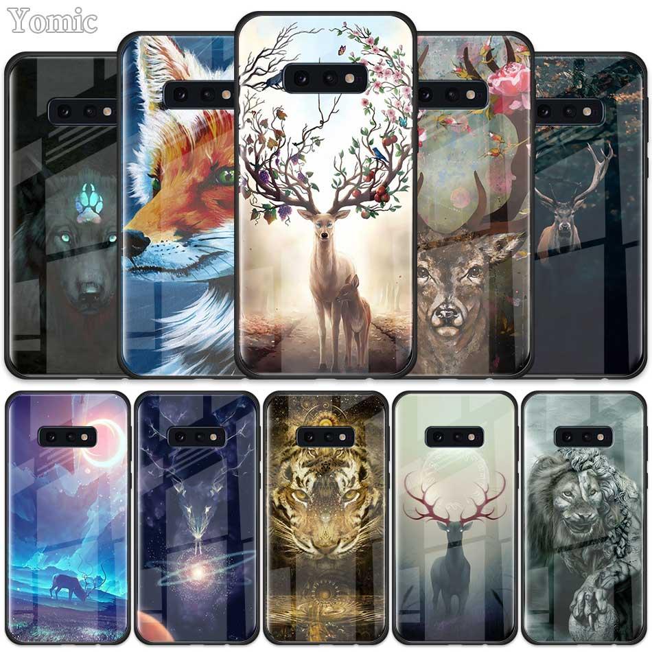 Animal deer lion Art Tempered Glass Case for Samsung Galaxy S20 S10 S10e S9 S8 Plus A50 A70 Note 10 + 5G Phone Cover Shell