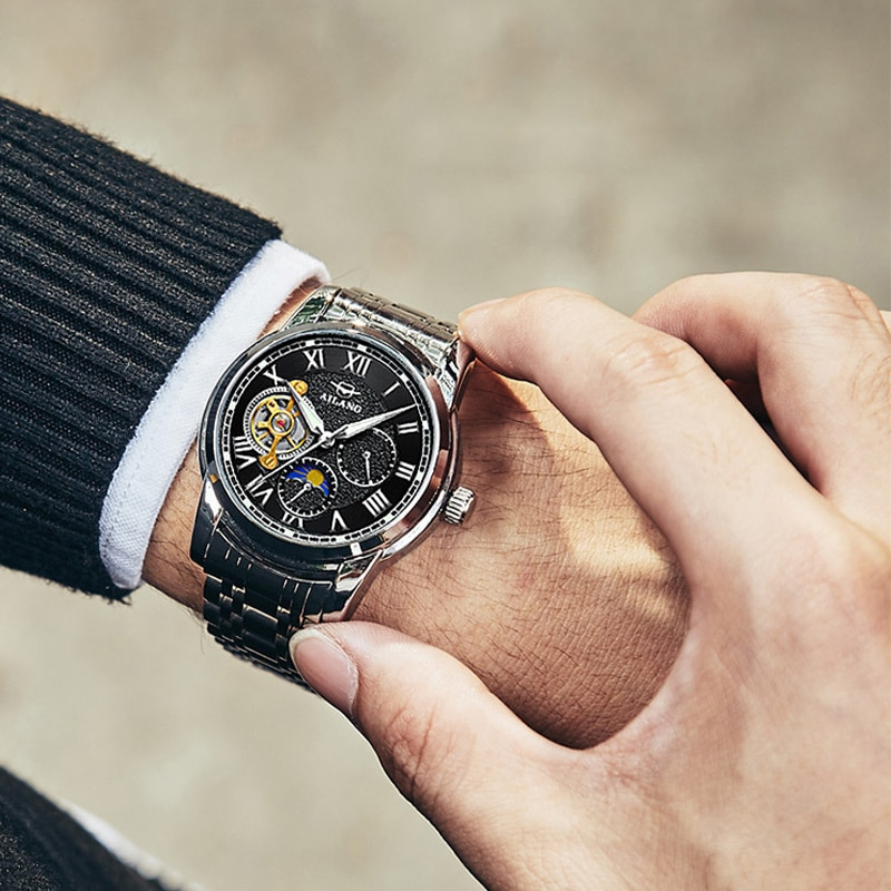 سويسرا 2019 جديد الرجال الميكانيكية ساعة الديزل توربيون التلقائي الصلب مقاوم للماء مضيئة الاتجاه ساعة رياضية القمر المرحلة