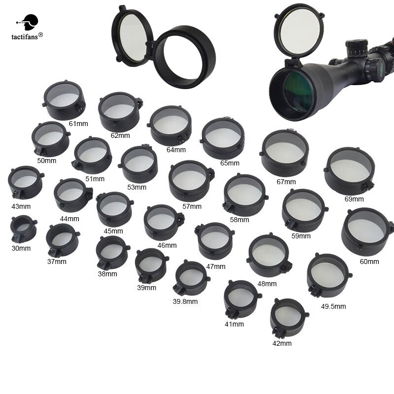 Quick Flip Spring Up tapa de lente de arma abierta a través de mira telescópica Rifle alcance proteger objetivo caza Paintball Accesorios