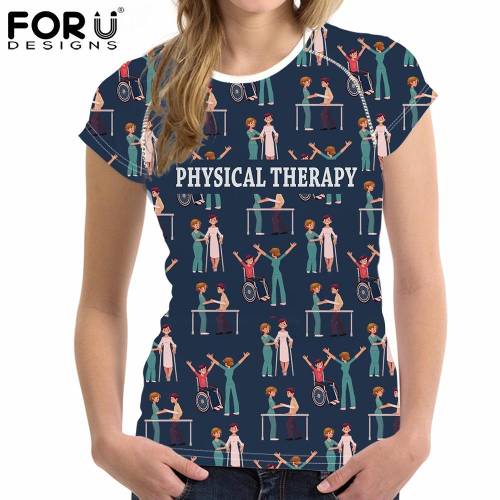 FORUDESIGNS, Camiseta con estampado 3D de terapia física de manga corta, camiseta divertida para mujer, camiseta para chica, camiseta Hipster con cuello redondo