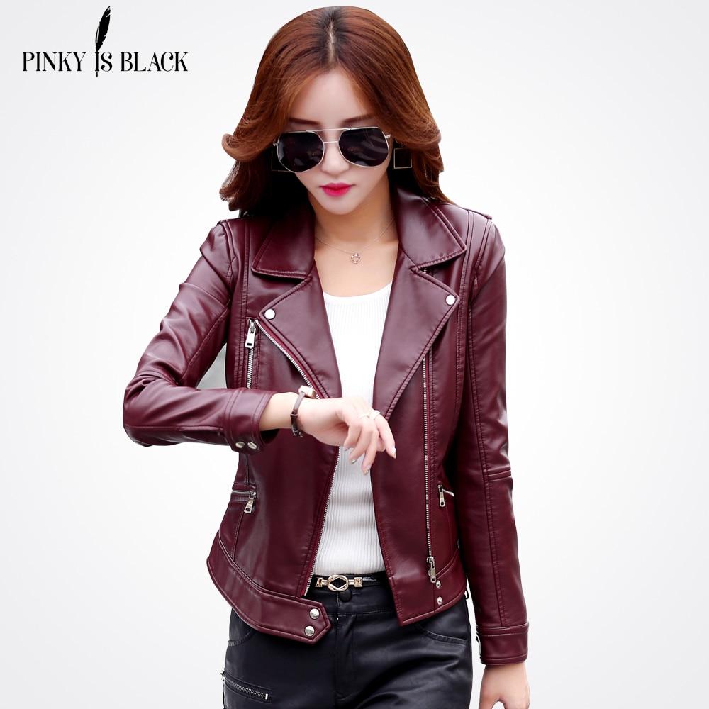 PinkyIsBlack Plus Size S-5XL Fashion 2020 Autumn Winter Women Leather Coat Female Slim Short Jacket Womens Outerwear