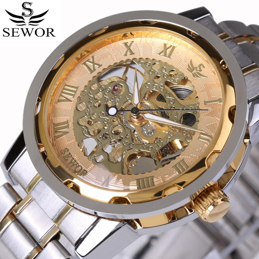 Роскошные прозрачные мужские часы со скелетом, мужские механические часы с римскими цифрами, часы с поверхностью, полностью стальные часы, Relogio Masculino