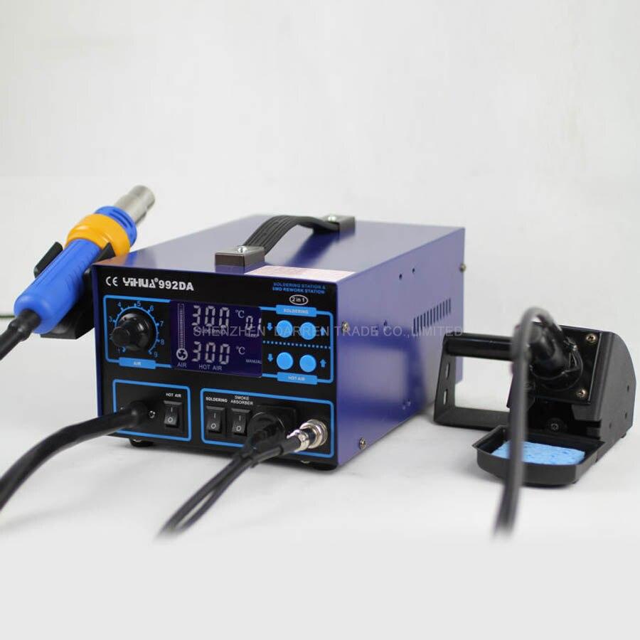 1pc 110V/220V 720W  992DA Digital Display Rework Soldering Station Hot Air Soldering Iron Gun English Manual