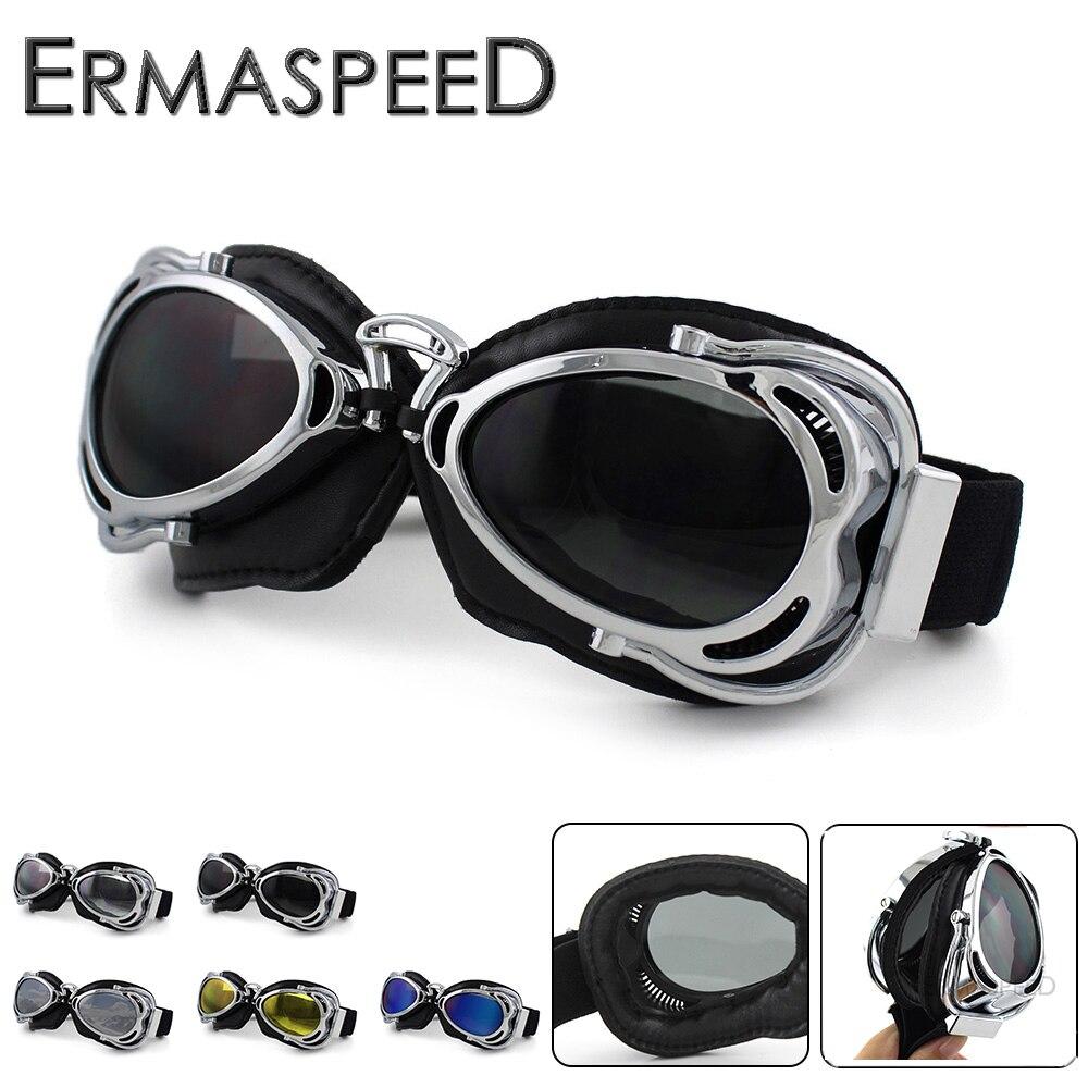 Óculos de proteção da motocicleta retro vintage capacete jet ski steampunk moto cruz piloto para harley chopper cafe racer