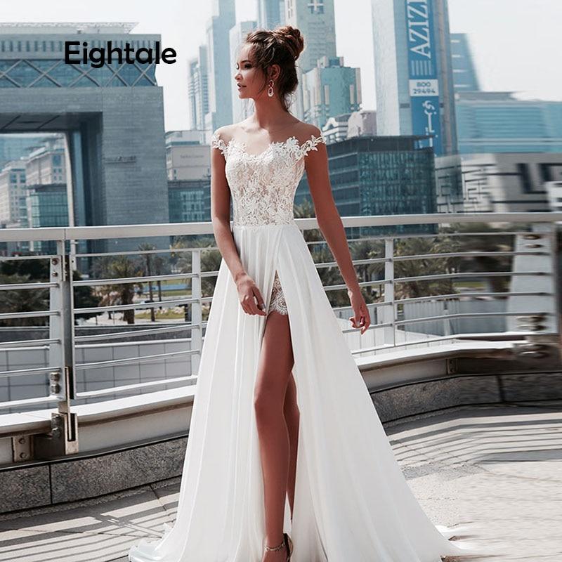 Ethtale-vestidos de novia Vintage, para playa, con apliques tipo pala, de encaje, Bohemia boda, gorra, manga, vestido de novia sencillo de gasa, 2019