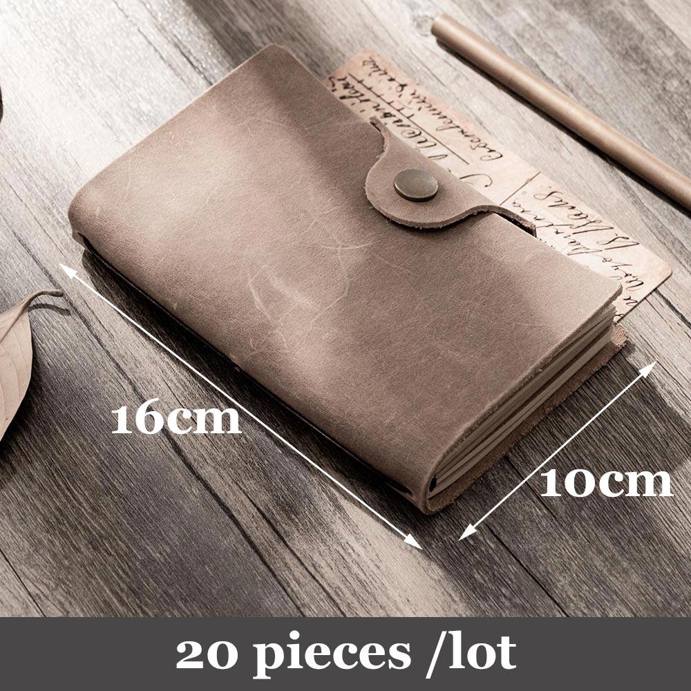 20 pieces / lot 100% Genuine leather Notebook Handmade travel journal vintage Cowhide diary sketchbook planner note book school